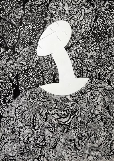 Mulher feliz#1 Nanquim sobre Canson 29,7 X 42 cm